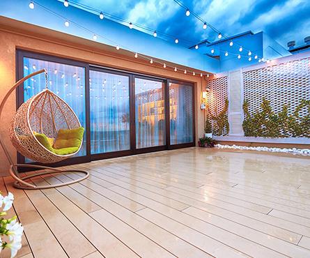 outdoor patio area with glazed doors